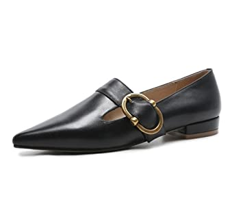 Mujer Soltero Zapatos Ponerse Comodidad Suave Cuero Puntiagudo Dedo del pie Mocasines Pisos Inteligente Metal Cinturón Hebilla Trabajo , Black , EUR 35/ UK ...