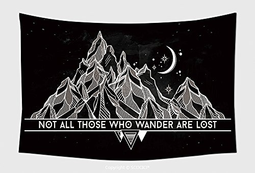 Home Decor Tapestry Wall Hanging Vector Abstract Geometric Mountain With Typographic Text Not All Those Who Wander Are Lost Poster for Bedroom Living Room Dorm