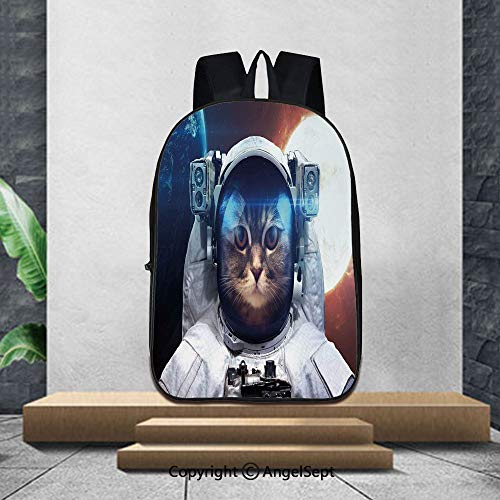 Lightweight Backpacks Casual School Bags,Space CatHouse Cat in Galaxy Outer Space with World and Sun Backdrop,16.5