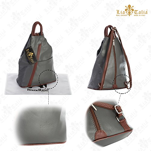 Soft Leather Unisex Convertible Bag LIATALIA Small Dark Italian Duffle Rucksack Grey Backpack ALEX Strap 45xwwFd