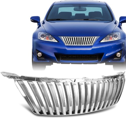 2006 - 2008 Lexus IS250 / IS350 Front Chrome Vertical Hood / Bumper Grill Grille (Lexus Chrome Grill)