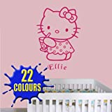 Hello kitty with Drink - Personalised with a name of your choice - Children's Wall Decal Sticker (Medium)