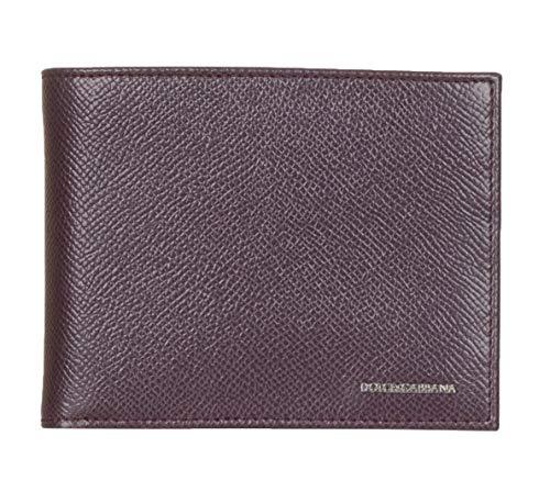 Dolce & Gabbana Burgundy Pebbled Leather Logo Bi Fold ()