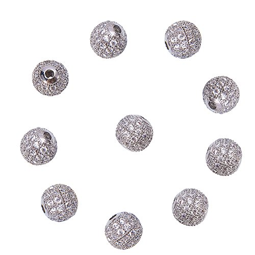 LUXPACK 10pcs 8mm Brass Clear Crystal Cubic Zirconia CZ Stones Pave Micro Setting Disco Ball Spacer Beads, Round Bracelet Connector Charms Beads for Jewelry Making, Silver