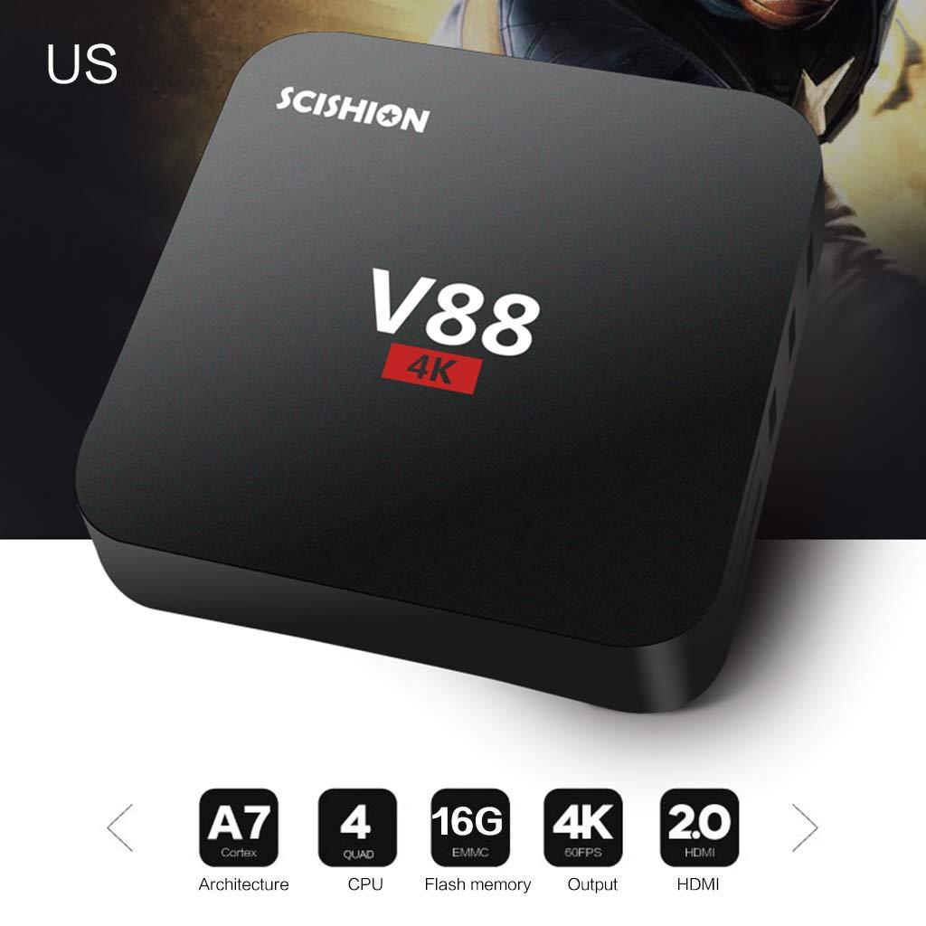 JUNESUN 1Set V88 Android 7.1/8.1 RK3229 Quad Core Smart TV Box 2GB+16GB HD WiFi Multimedia Player Set Top Box