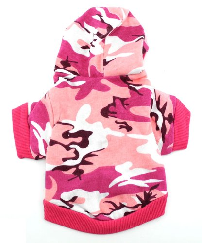 (SMALLLEE_LUCKY_STORE eSingyo Pet Cat Dog Clothes Hoodie Hooded Sweaters Coat Small Dog Clothes Pink Camouflage M)