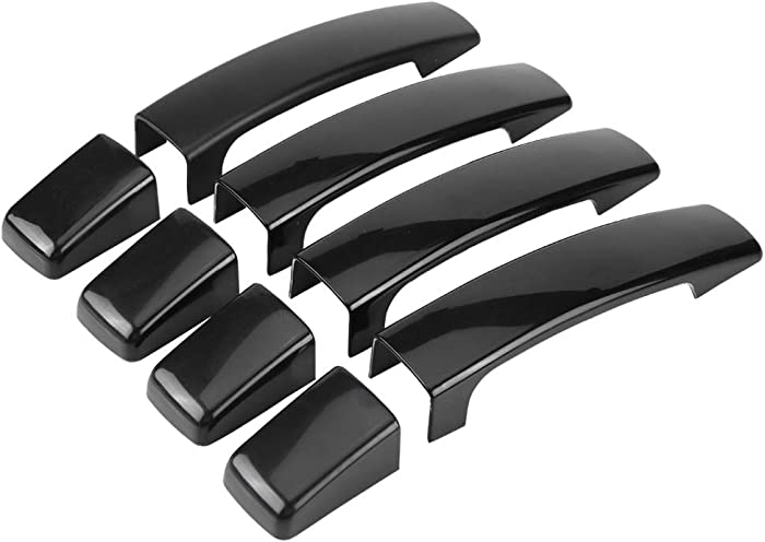 Akozon Exterior Door Handle Cover 4pcs Car Glossy Black Exterior Door Handle Cover for Range Rover Sport Discovery 3 Freelander 2