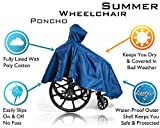 Wheelchair Summer Poncho – Adult Elderly Seniors Wheelchair Cape – Durable Quality Poly/Cotton Lined - Heavy Duty Reusable – Full Waterproof Coverage Zip Front Hood (Single Pack, Navy)