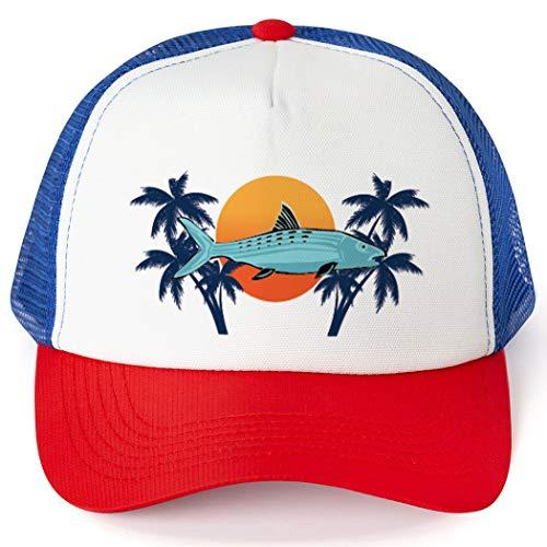 Fly Fishing Trucker Hat   Bonefish Sunset   Royal-Red