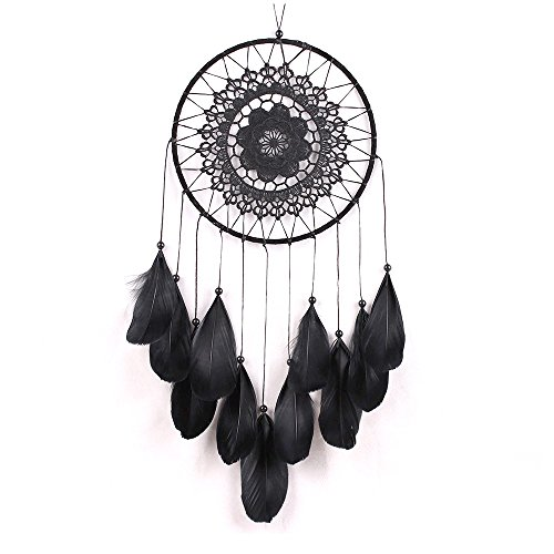 crayfomo Dream Catcher Handmade Feather Dreamcaters Net Black Wall Hanging Decoration for Kids Baby Women Wedding Large Ring Decor Lace Craft (7.9 inch Diameter 19.7 inch Length) by crayfomo