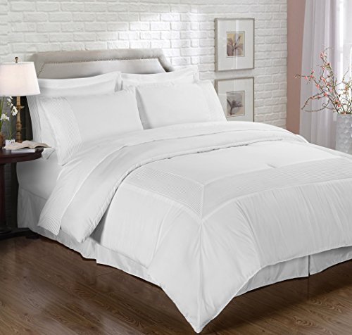 Chezmoi Collection 8 Piece Pleated Hem Solid Bed-in-a-Bag Comforter Set, Queen, White - Pillow Mason Collection