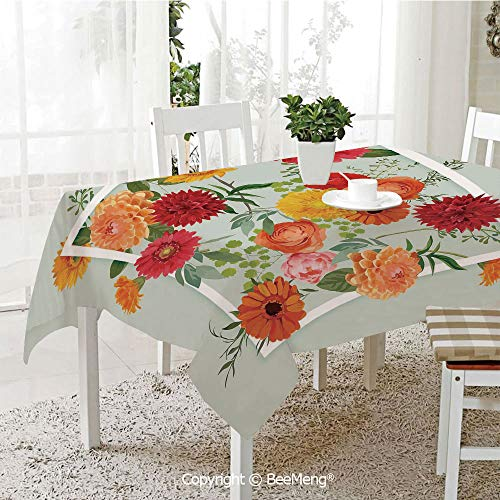 - BeeMeng Large Family Picnic Tablecloth,Floral Flowers Leaves Buds Frame Art Print,Pale Green Dark Coral Mustard Peach Red59 x 104 inches