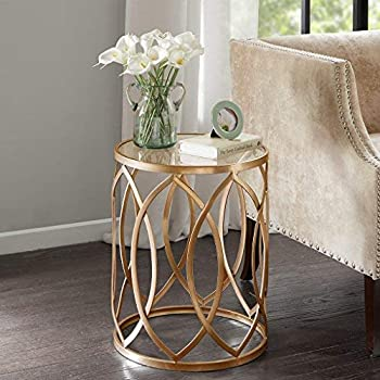 Madison Park Metal Eyelet Accent Table Arlo/Gold/Glass
