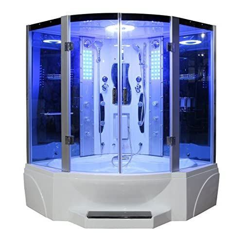 50%OFF Eagle Bath WS-608P 110v ETL Certified Steam Shower Enclosure (3KW generator) with Whirlpool Tub 2 Handheld Showerheads 6 mm Tempered Blue Glass and Built-In Seating