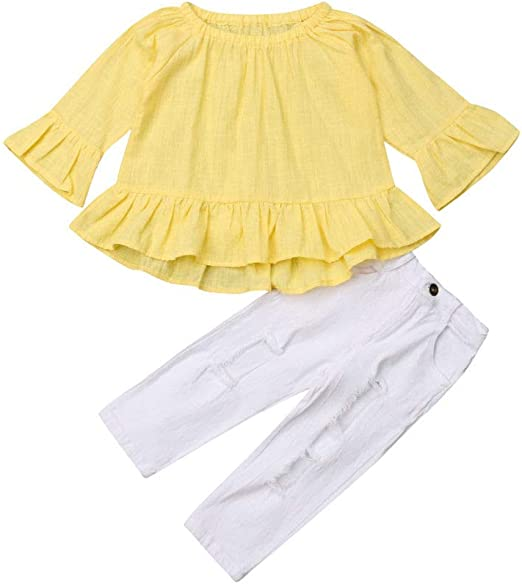 Kids Baby Girl Winter Warm Outfit Clothes Ruffle Tops Shirt Denim Pants 2Pcs Set