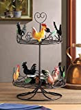 Country Decor Rooster Tabletop Rack Black Iron Space Saver