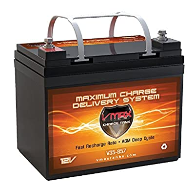 Best Cheap Deal for VMAXTANKS Vmax857 Tm AGM 12 Volt 35AH Group U1 Marine Deep Cycle Hi Battery for Boats and 18-35lb Minn Kota, Minnkota, Cobra, Sevylor and Other Trolling Motor by VMAX USA - Free 2 Day Shipping Available