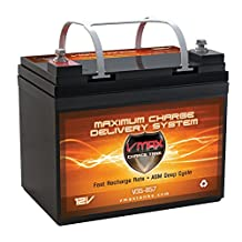 VMAXTANKS Vmax857 Tm AGM 12 Volt 35AH Group U1 Marine Deep Cycle Hi Battery for Boats and 18-35lb Minn Kota, Minnkota, Cobra, Sevylor and Other Trolling Motor