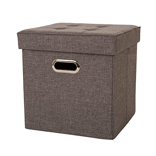 Glitzhome Foldable Linen Cube Storage Ottoman Foot Stools with Padded Seat for Living Room, Dark Gray ()