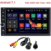 MCWAUTO Standard Double 2 Din Android 7.1 In Dash Car Stereo Radio GPS Navigation Support 4G WIFI Bluetooth Mirrorlink with Rear Camera