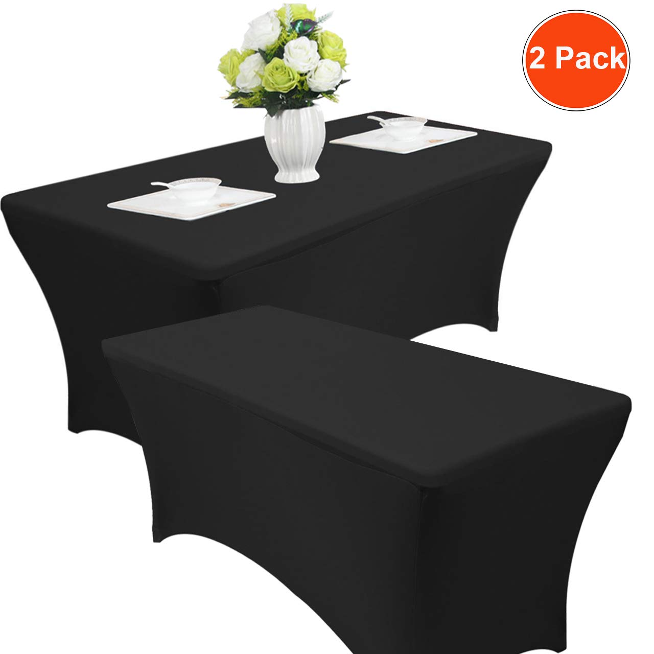 Reliancer 2 Pack 48FT Rectangular Spandex Table Cover Four-Way Tight Fitted Stretch Tablecloth Table Cloth for Outdoor Party DJ Tradeshows Banquet Vendors Weddings Celebrations (6FT, Black) by Reliancer (Image #2)