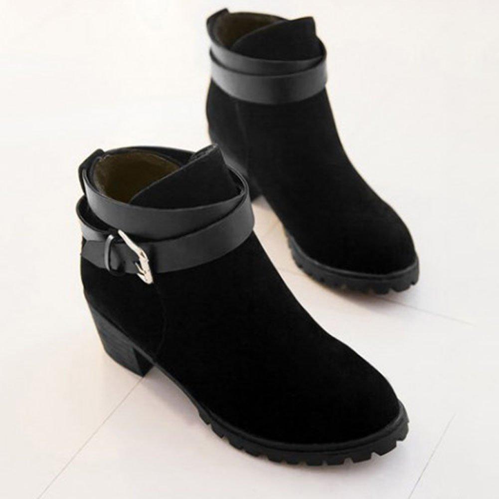 446fd0adfa1b Frestepvie Bottes Classiques Femme Boots Bottine Courtes Ville Confort  Chaussure Talon Haut Bloc