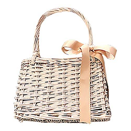 (QZUnique Women's Bamboo Braided Ribbon Summer Drawstring Handbag)