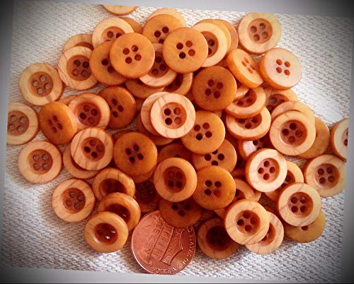 JumpingLight Pack of 24 Small Matte Burnt Orange Plastic Buttons Just Over 7/16'' 12mm 7133 Perfect for Crafts, Scrap-Booking, Jewelry, Projects, Quilts