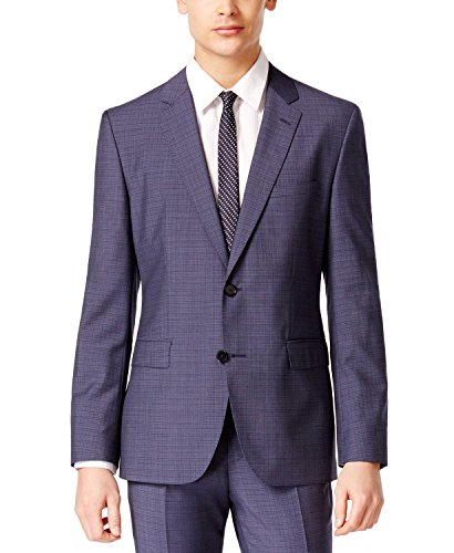 HUGO by Hugo Boss Men's Medium Blue Mini Grid 100% Virgin Wool 2 piece Extra Slim Fit Suit C-Jeffery/C-Simmons 50309938-401 (46 Long USA Jacket / 40 Waist - Boss Hugo Shows