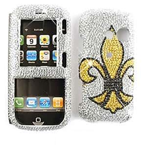 CELL PHONE CASE COVER FOR LG RUMOR 2 II / COSMOS 1 LX265 VN250 RHINESTONES GOLD SAINTS LOGO ON WHITE