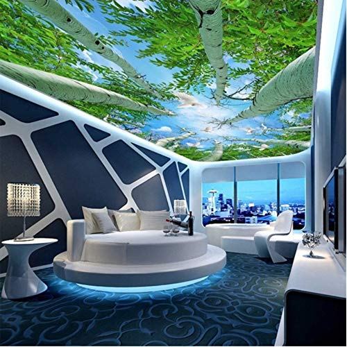 hwhz Custom Photo Wall Mural Wallpaper 3D Ultra Hd Forest Sky Ceiling Fresco Wall Murals for Living Room Bedroom Home Decor Wallpaper-400X280Cm