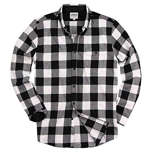 Urban Boundaries Men's Long Sleeve Flannel Shirt w/Button Down Collar (Black/White, Medium)