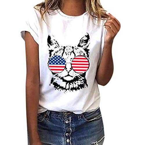 WILLBE Women Blouse American Flag Cat Print Tees Shirt Short Sleeve Top Fashion Independence Day Flag Print T-Shirt White]()