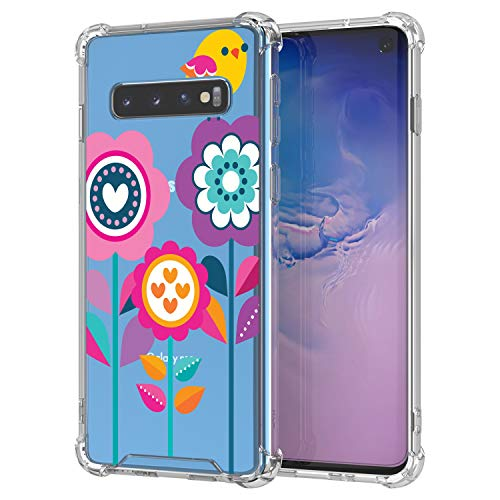 TurtleArmor | Compatible with Samsung Galaxy S10 Case | S10 Case | G973 [Flexible Armor] Clear Flexible TPU Case Protector Fitted Slim Cover Shockproof Bumper - Flowers Bird