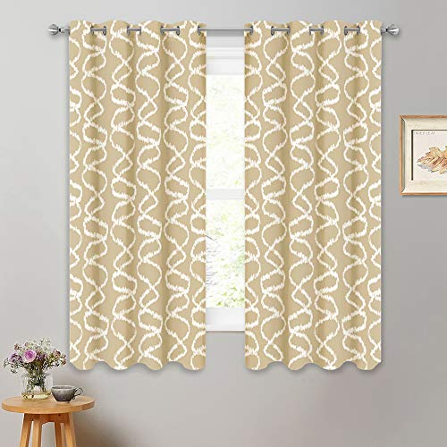 RYB HOME Blackout Curtain Set of 2 Panels, Rust Proof Grommet Top Mint Petterned Curtains for Living Room Decor, W 52 in x L 63 in per Panel, 2 Pcs, Cream Beige