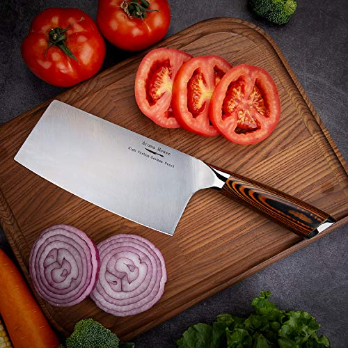 Aroma House Chinese Chef's Knife-7 inch Vegetable and Meat Cleaver Knife, German Stainless Steel Kitchen Knife with Full-tang Pakkawood Handle for Home, Kitchen & Restaurant, Gift Box by Aroma House (Image #4)