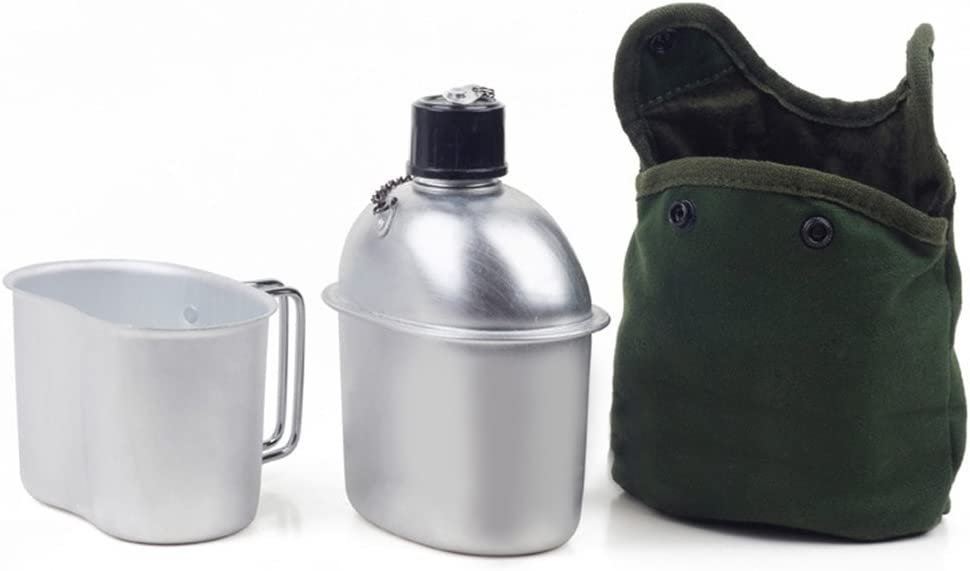 Pesado de aluminio militar cantimplora de 1 QT con tapa de 0,5 QT, color verde, para acampar, senderismo