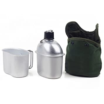 FastSolar - Cantina Militar de Acero Inoxidable, 1 QT, portátil, con Tapa de 0,5 QT, Color Verde, para Acampada, Senderismo