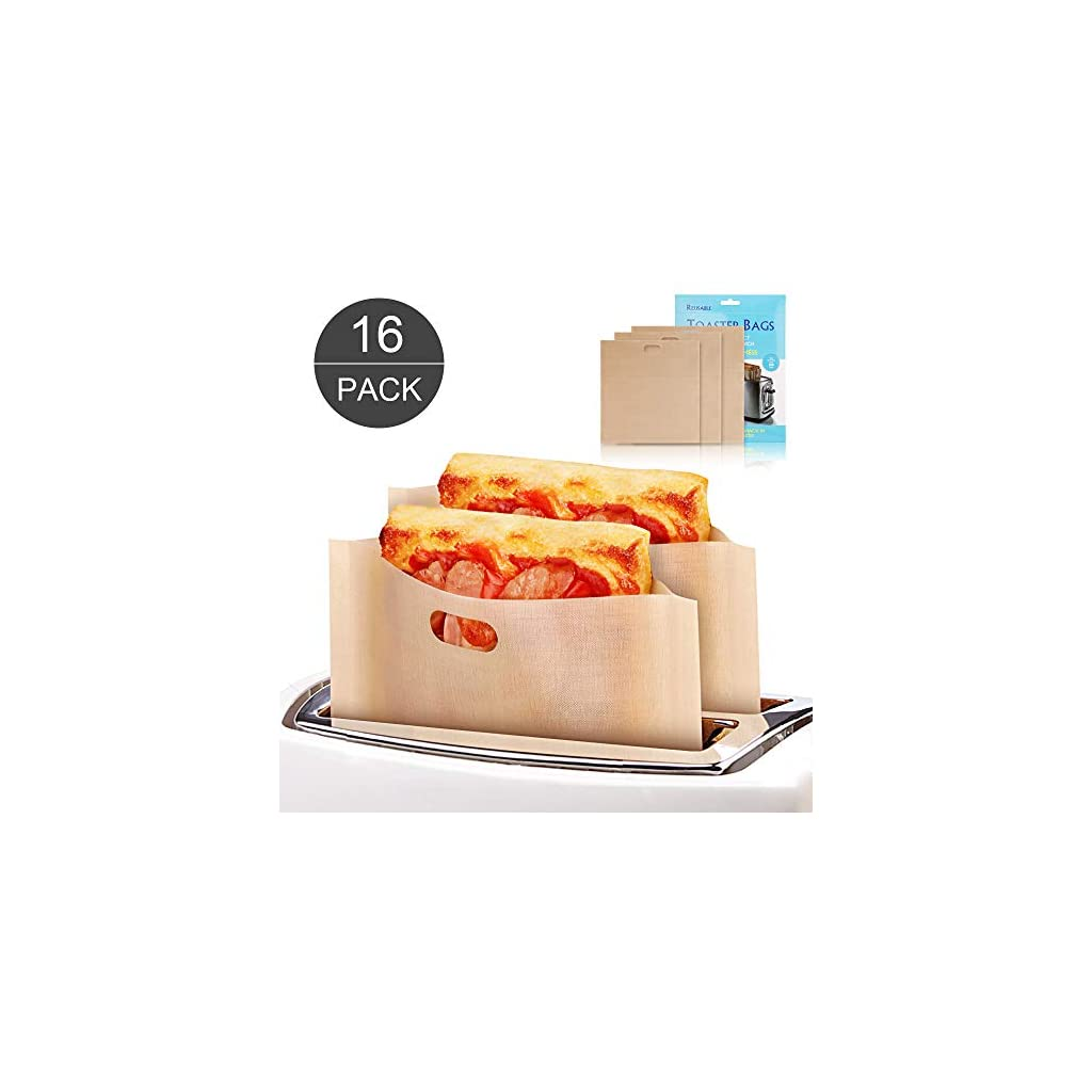 16 Pack Toaster Bags Reusable Grilled Cheese Sandwich