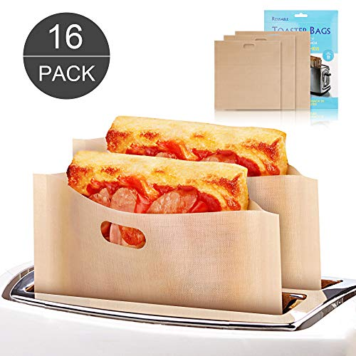 16 Pack Toaster Bags - Reusable Grilled Cheese Sandwich Toaster Bags, Non-Stick, Heat Resistant, 3-Size Kitchen Cooking Toaster Oven Bags for Pastries, Pizza Slices,Chicken Nuggets,Sausages and more. (Oven Chicken Grilled)