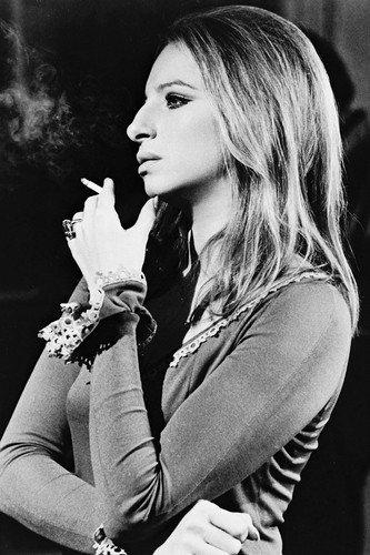 Barbra Streisand 24x36 Poster in profile smoking cigarette (Barbra Streisand Poster)
