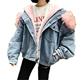 Raylans Women's Winter Hooded Fur Collar Thick Denim Jacket Outerwear Coat Pink