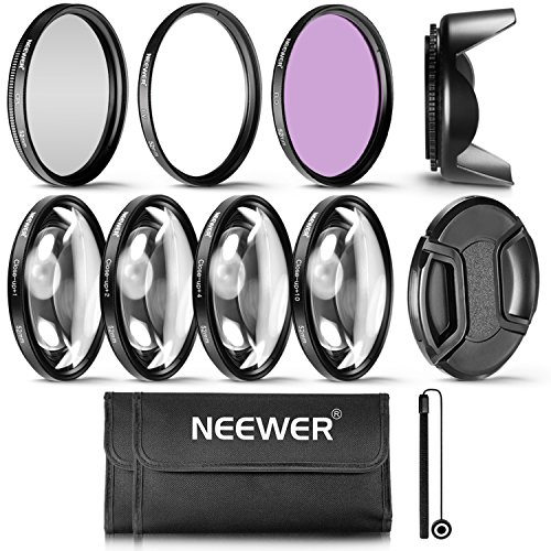 Neewer 52MM Professional UV CPL FLD Lens Filter and Close-up (+1, +2, +4, +10) Accessory Kit for Lenses with a 52mm Filter Size