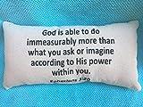 alerie Sassoon God is Able to Do Ephesians 3:20, Scripture, Bible, God, Christian, Lumbar 16x24 Pillowcase Pillow Cover, Black Canvas Beige, Inspiration, Hope, Plans, Home Decor