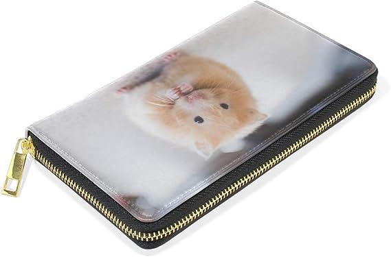 Cute Hamster Womens Genuine Leather Wallet Zip Around Wallet Clutch Wallet Coin Purse