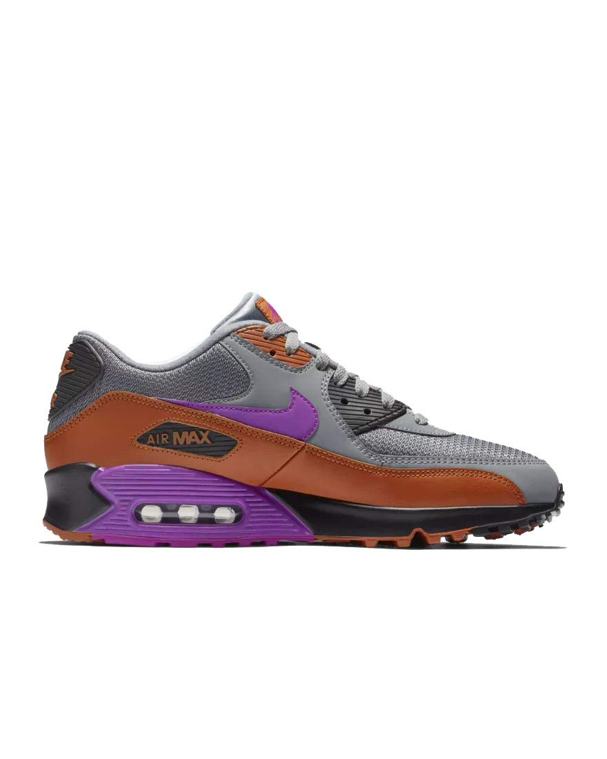 Nike Mens Air Max 90 Essential Running Shoes Cool GreyVivid PurpleDark RussetBlack AJ1285 013 Size 9.5