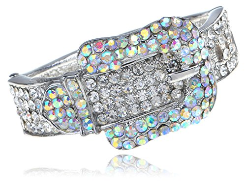 Iridescent Clear Crystal Colored Rhinestones Belt Buckle Cuff Bracelet (Rhinestone Buckle Bracelet)