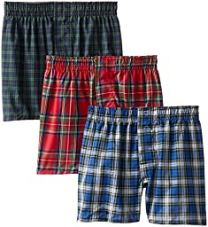 Hanes Big Boys\'  Woven Boxer, Assorted, Tartan Plaid, Large(Pack of 3)