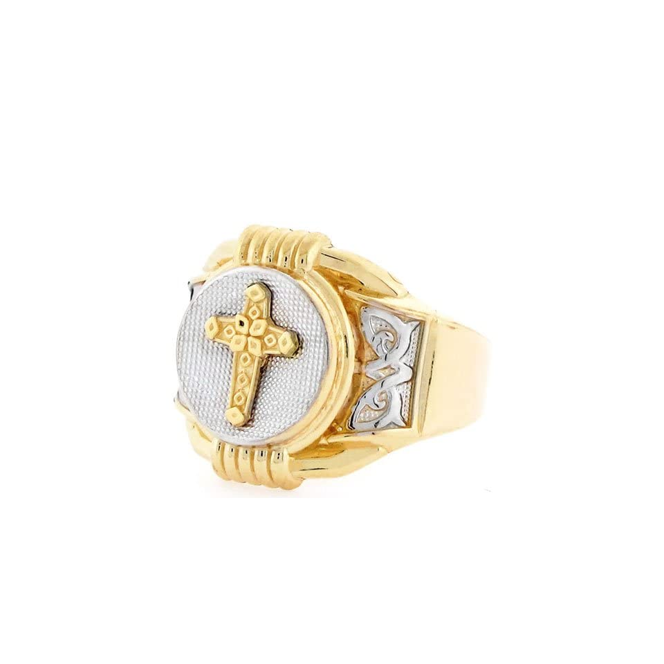 14K Two Tone Gold Religious Cross Round Fancy Mens Ring