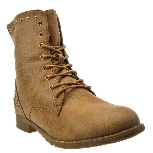 Kickly–Zapato Mode botín Botas mi-mollet mujeres cavalière–Motarde–del espacio–Strass Talón Bloque 2.5cm–Camel